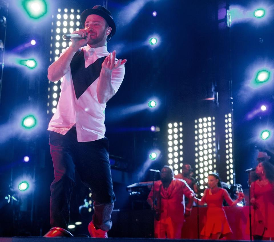 Justin Timberlake performing at Fenway Park over the weekend.