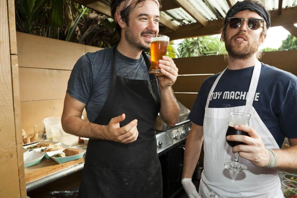 Food, beer, and music make a winning recipe for Evan George (left) and Alex Brown.
