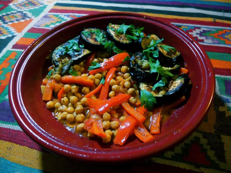Eggplant, bell pepper, and chickpea.