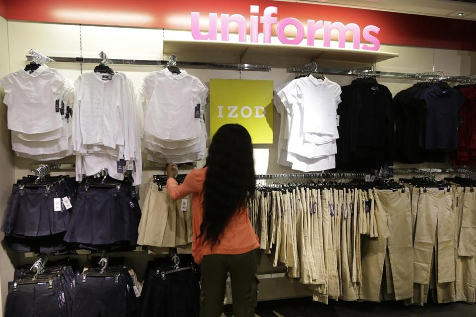 School uniforms were already on display by July 13 in a J.C. Penney store in New York City.