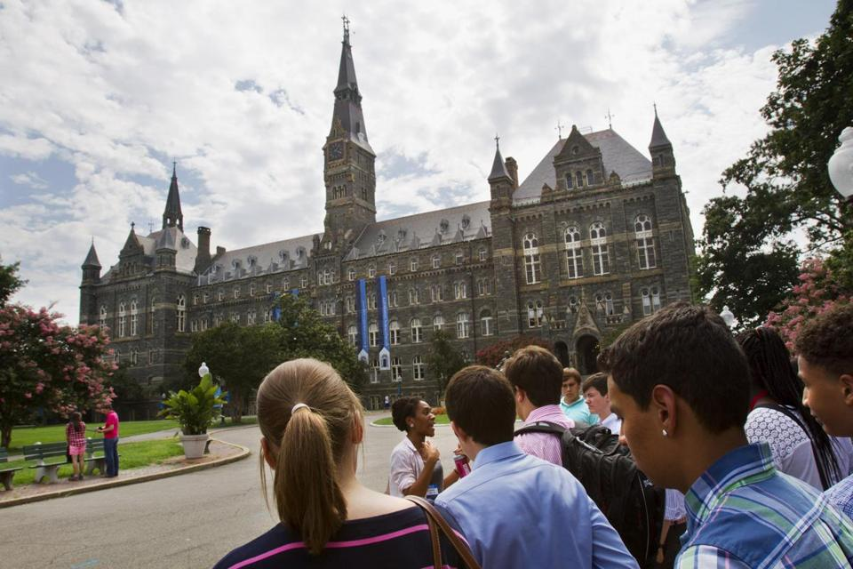Grants and scholarships often sharply reduce the cost of attending pricey private schools like Georgetown, above.