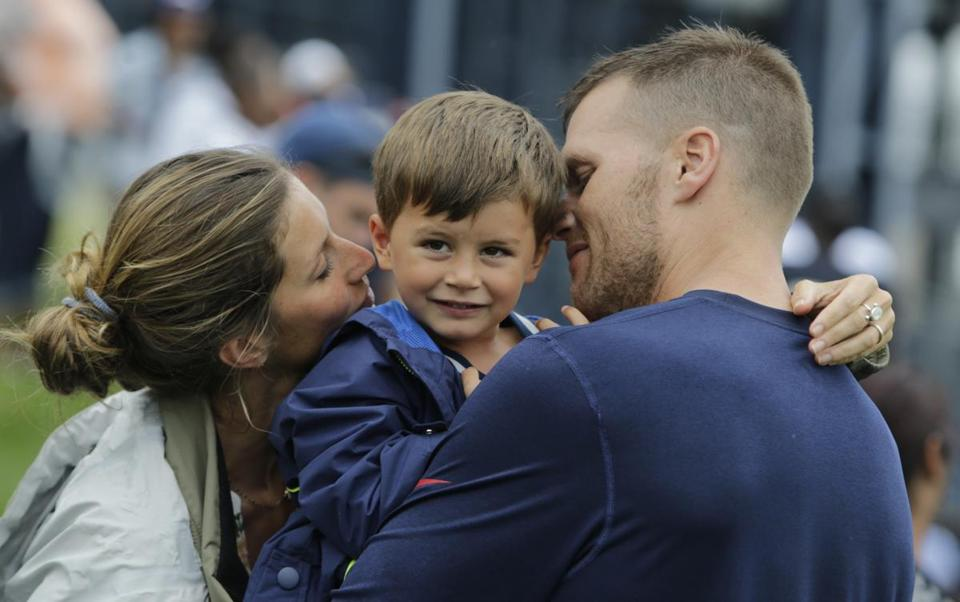 New England Patriots quarterback Tom Brady and his wife Gisele Bundchen with their son Benjamin Brady in August.