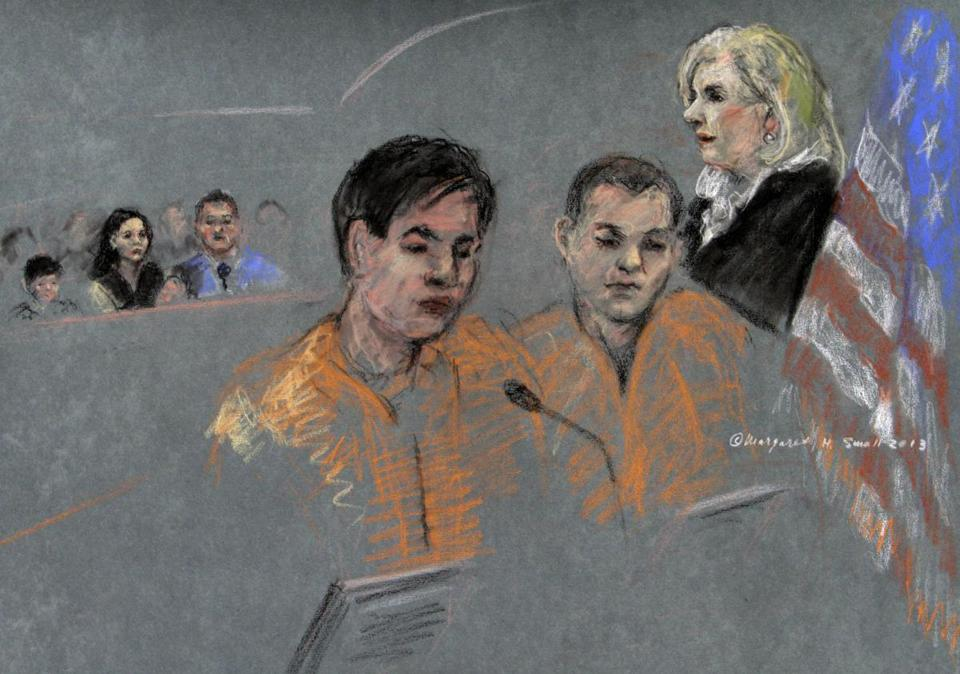 In this courtroom sketch, defendants Dias Kadyrbayev, left, and Azamat Tazhayakov appeared before Magistrate Judge Marianne Bowler.