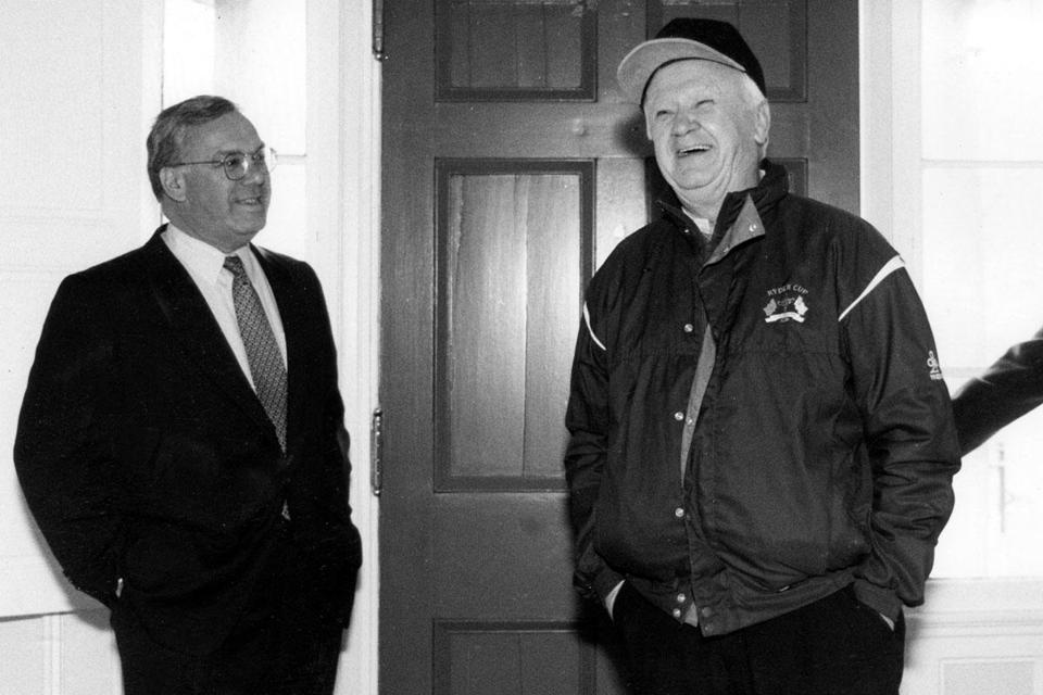 "Mayor Menino welcomed his ""second father,"" John F. Kinnaly, to a surprise birthday party for Kinnaly, who died in 2011."