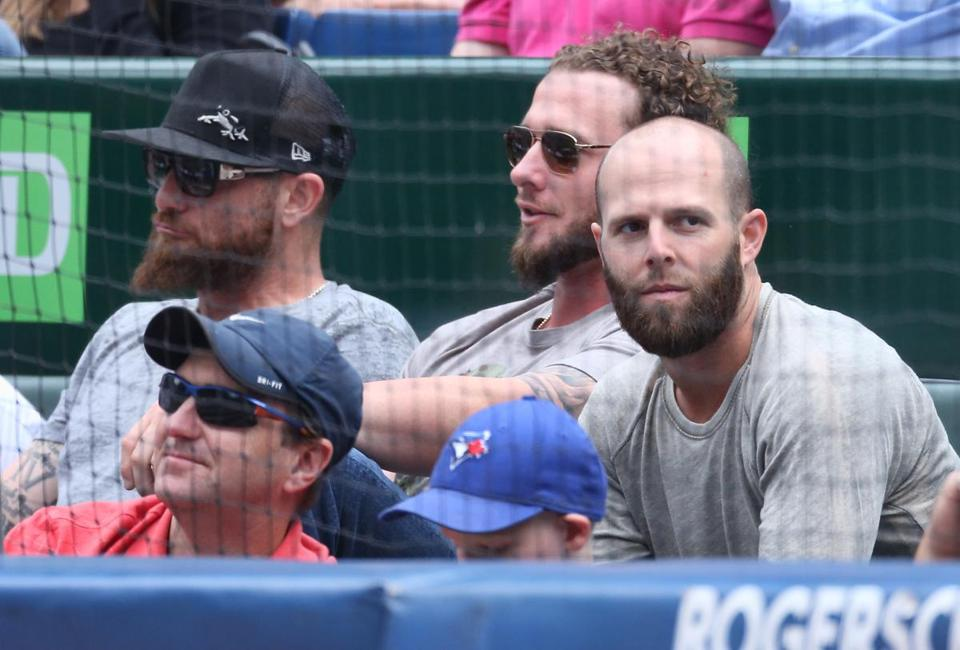 With a day off in Toronto, (from left) Jonny Gomes, Jarrod Saltalamacchia, and Dustin Pedroia took in the A's-Jays.