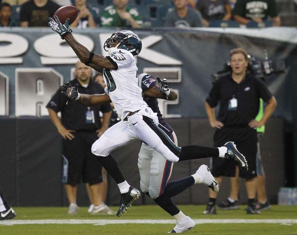 Speedy Eagles receiver DeSean Jackson beat Patriots cornerback Aqib Talib for a 47-yard TD Friday night.
