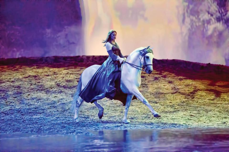 "Elise Verdoncq and her horse Omerio performing in Cavalia's ""Odysseo."""