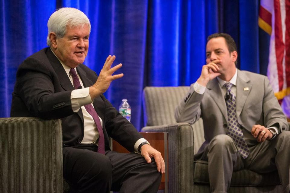 Newt Gingrich (left, with Reince Priebus), emphasized the need to make the GOP appeal to more demographic groups.