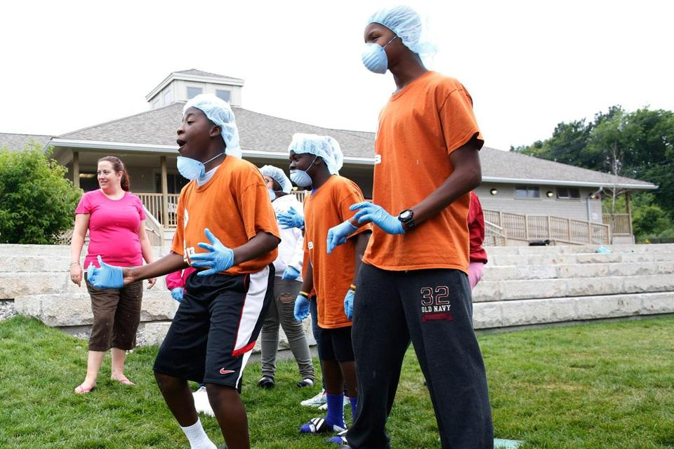 (From left) Triston Champagnie, Kamal Williams, and Jakieh Blevins at a Camp Harbor View race.