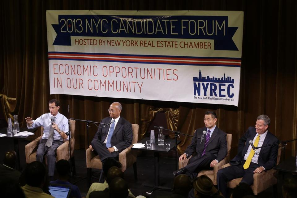 New York mayoral hopefuls Anthony Weiner, Bill Thompson, John Liu, and Bill de Blasio participated in a candidate forum on Tuesday. De Blasio, who has been an election afterthought for months, has gotten a boost in the past few weeks.