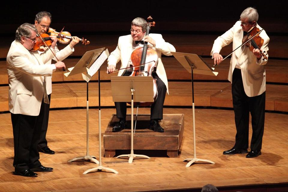 The Emerson String Quartet, with new cellist Paul Watkins, during its performance at Tanglewood this week.