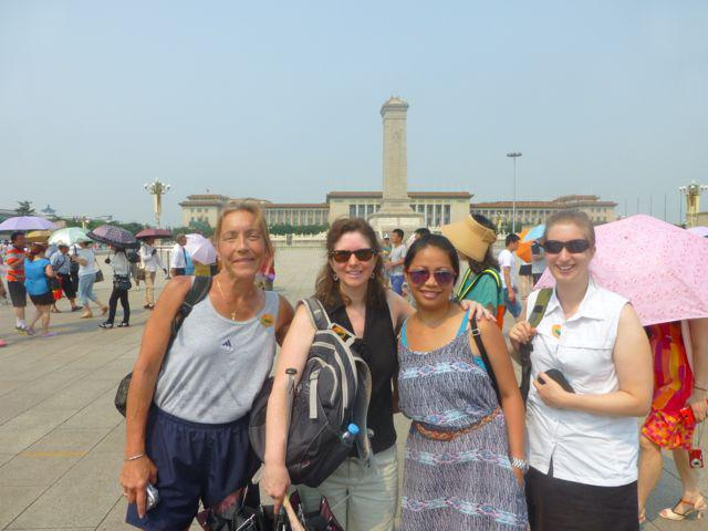 Local residents (from left) Cheryl Welsh, Elizabeth Atkinson, Sabrina Pan, and Diane Babbitt traveled to China this summer to teach and learn.