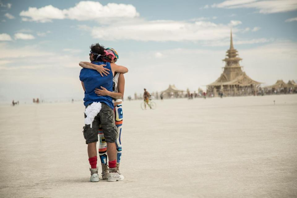 "Two participants at the 2012 Burning Man festival, which was filmed for the documentary ""Spark: A Burning Man Story."""