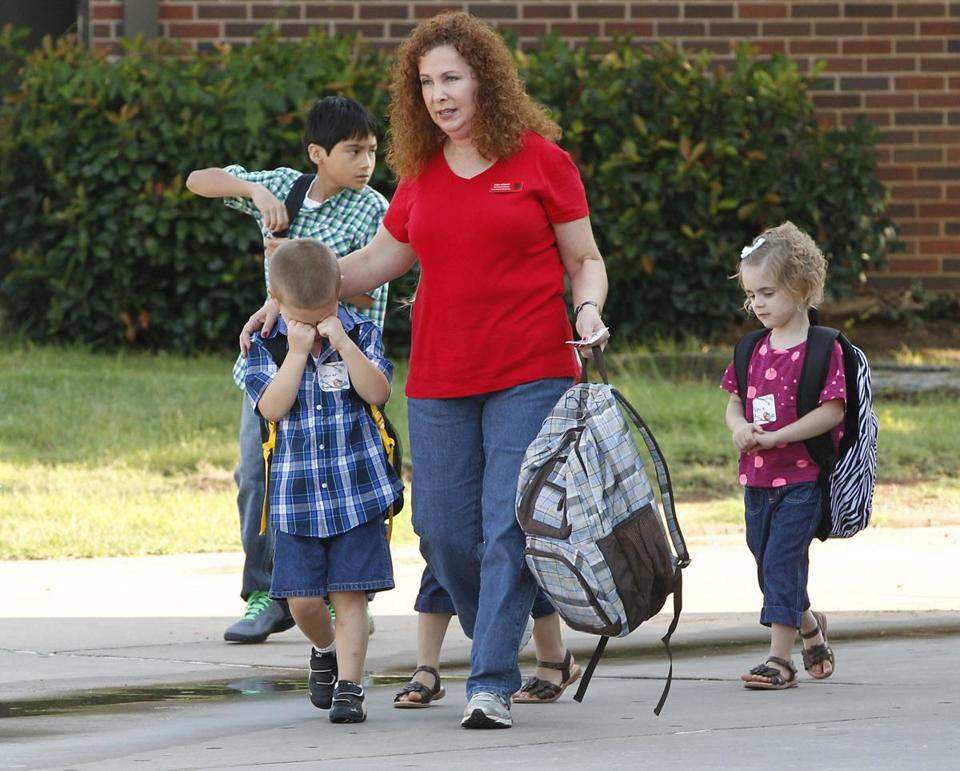 Plaza Towers Elementary students returned to class at a temporary location.