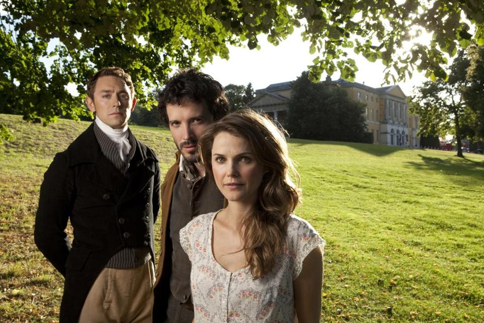 "JJ Feild (far left) stars with Bret McKenzie and Keri Russell in ""Austenland."""