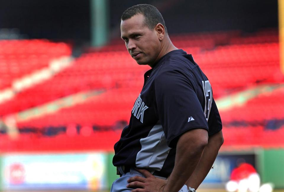 Alex Rodriguez warmed up on the Fenway field before Friday night's Red Sox-Yankees game.