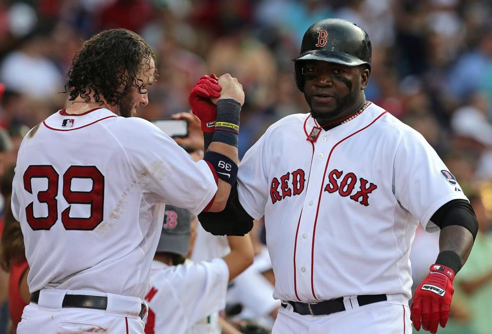 David Ortiz got a hand from Jarrod Saltalamacchia after he hit his 24th homer this season.