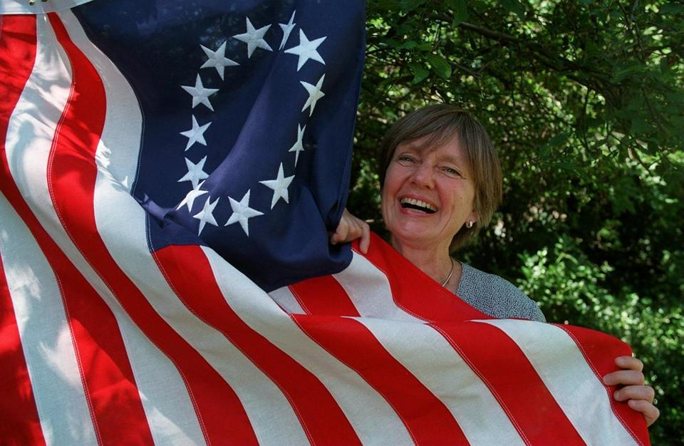 "Dr.  Maier posed with a ""Betsy Ross'' flag in 1997. When she had finished writing ""American Scripture'' in 1996, her literary agent wrapped the manuscript in a 13-star flag and delivered it to the book's editor on Fourth of July eve."