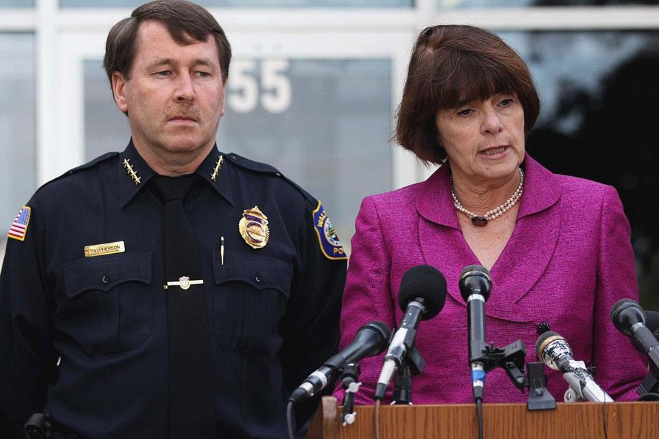 Middlesex District Attorney Marian T. Ryan (right) addressed the news media Friday regarding the arrest of Jared Remy, as Waltham Police Chief Keith MacPherson looked on.