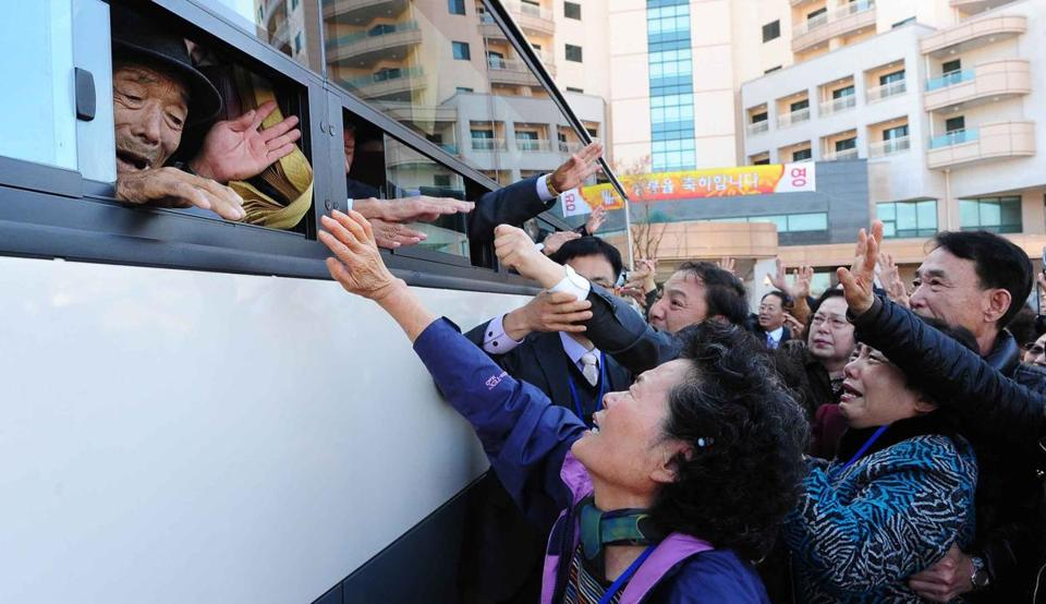 North Koreans on a bus said goodbye to their South Korean relatives following a three-day reunion at the Mount Kumgang resort on the North's southeastern coast on Nov. 1, 2010.