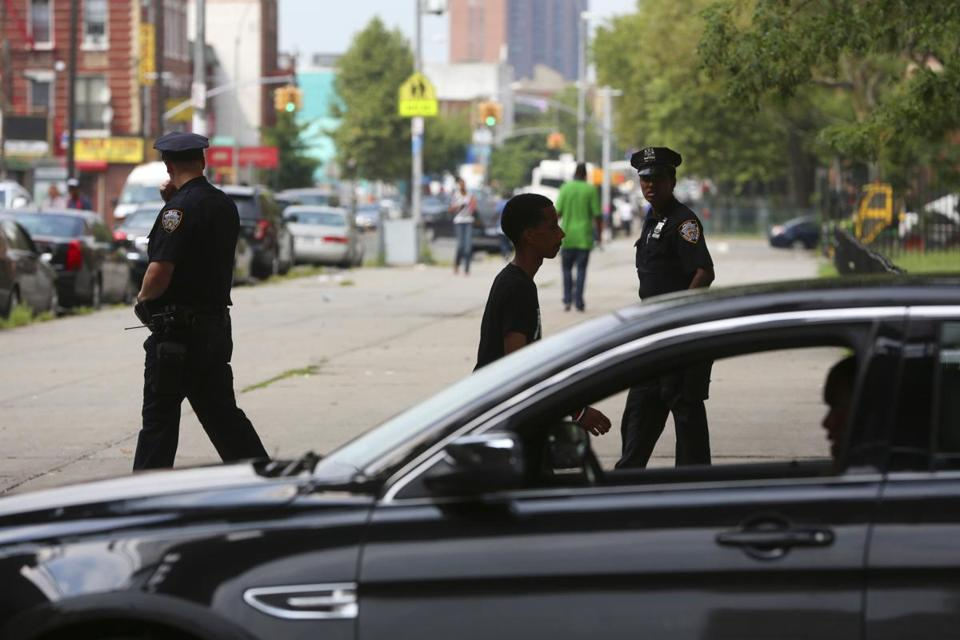 New York Police Department officers patrolled the Brownsville neighborhood of Brooklyn last week.