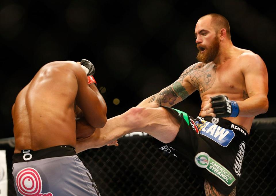 Travis Browne kicked Alistair Overeem in their heavyweight bout at TD Garden.