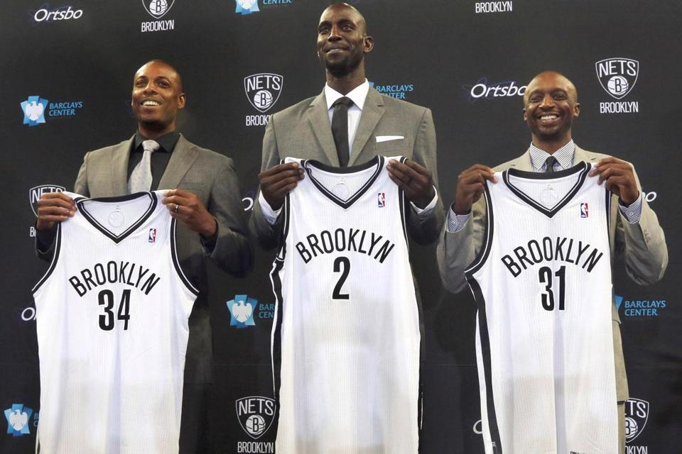Paul Pierce, Kevin Garnett, and Jason Terry were traded to the Nets for a chance at a championship while the Celtics rebuild.