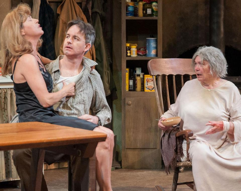 "Elizabeth Aspenlieder as Maureen (left), David Sedgwick as Pato, and Tina Packer as Mag in ""The Beauty Queen of Leenane.''"