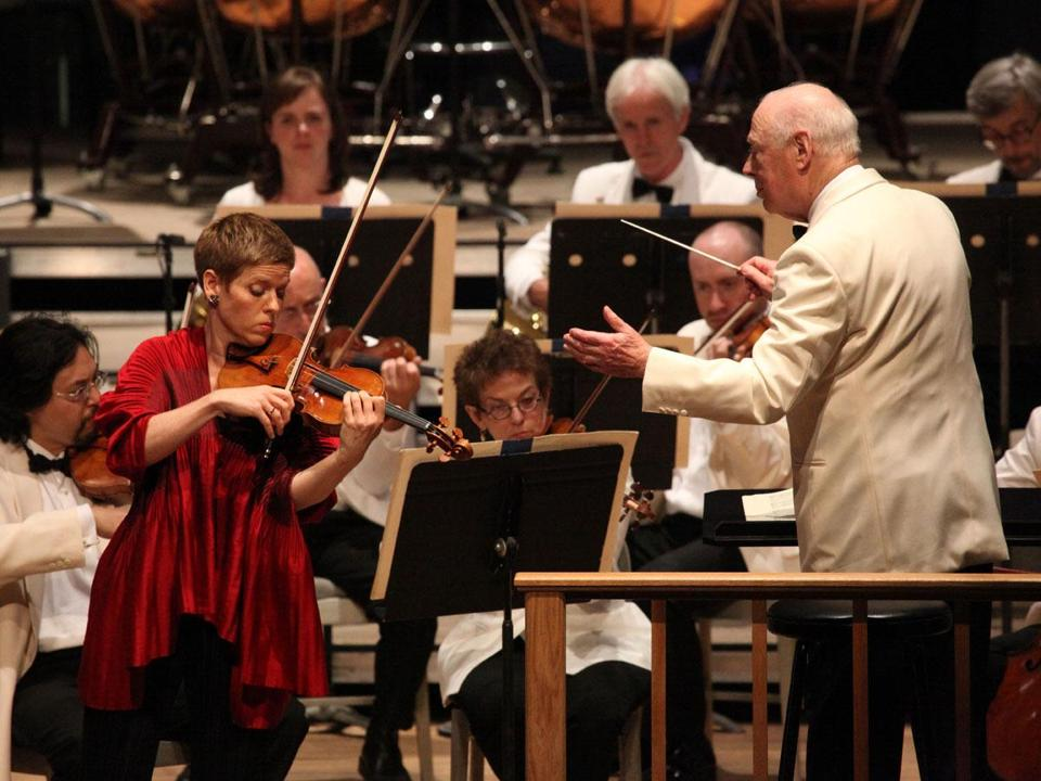 Bernard Haitink and the BSO with violinist Isabelle Faust, making her Tanglewood debut on Saturday.