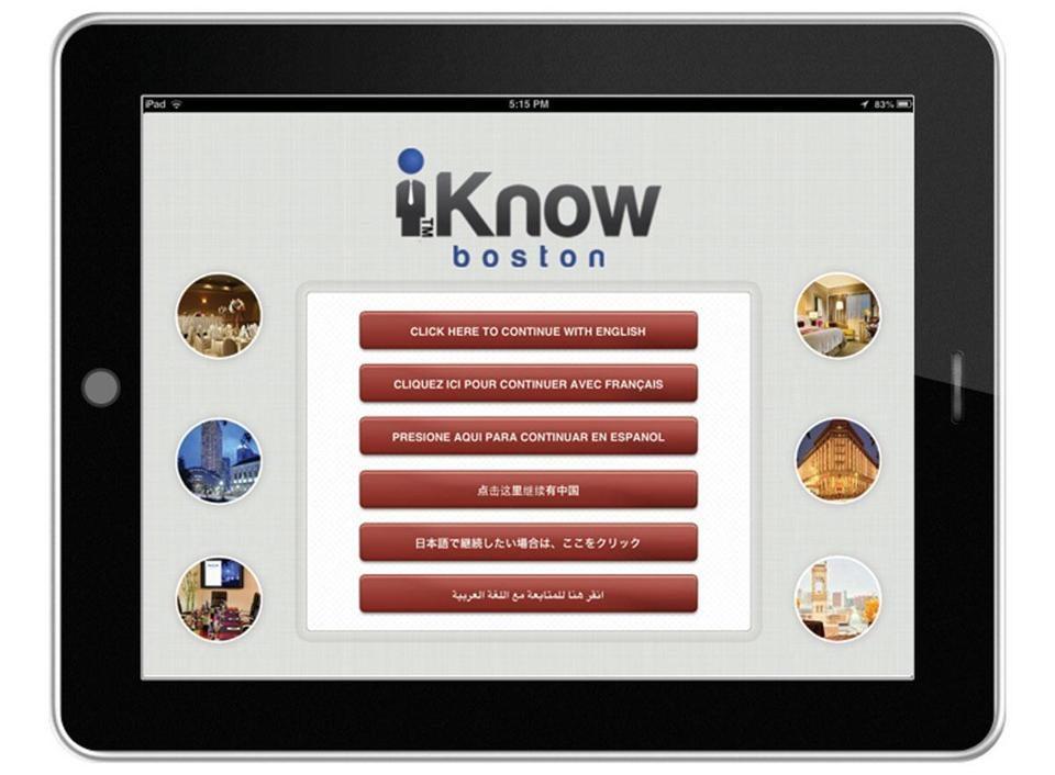 The iKnow Concierge app can recommend restaurants and tourism destinations.