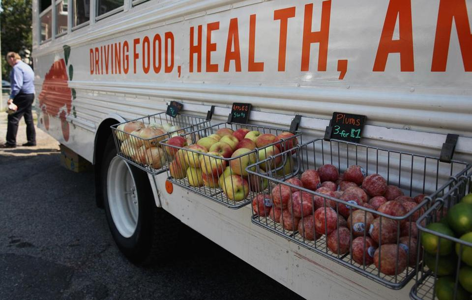 Fresh Truck brings fresh produce to low- and mixed-income neighborhoods on a set schedule.