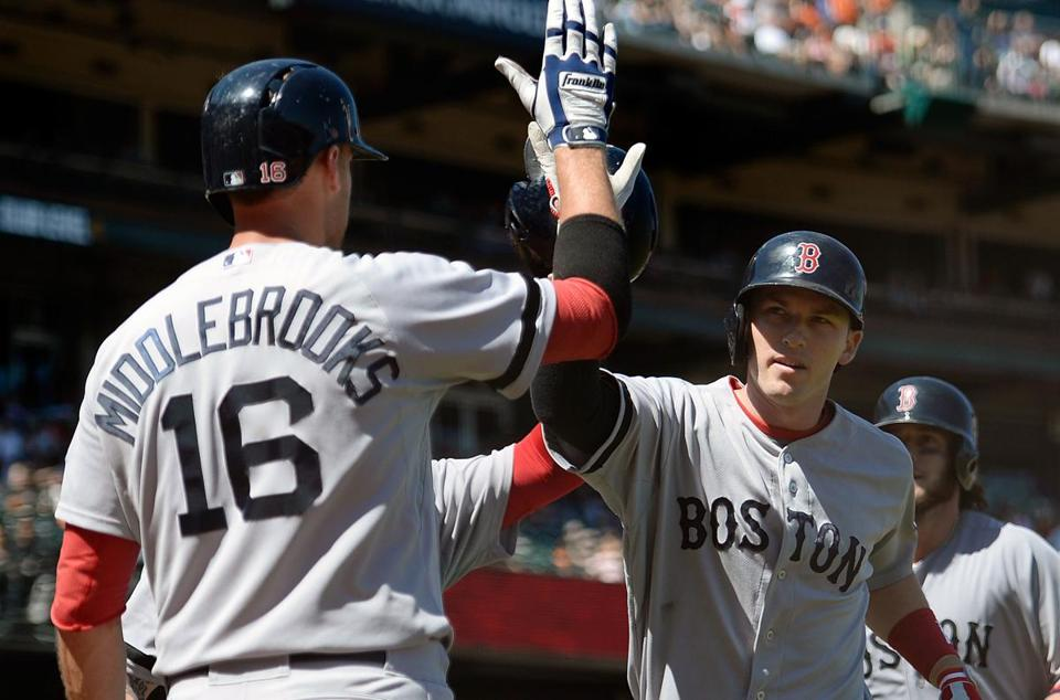 Will Middlebrooks had a  high-five for Stephen Drew after Drew hit a three-run homer in the seventh inning.