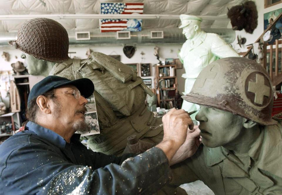 Jim Brothers sculpted a World War II medic for the  National D-day Memorial in 2002.