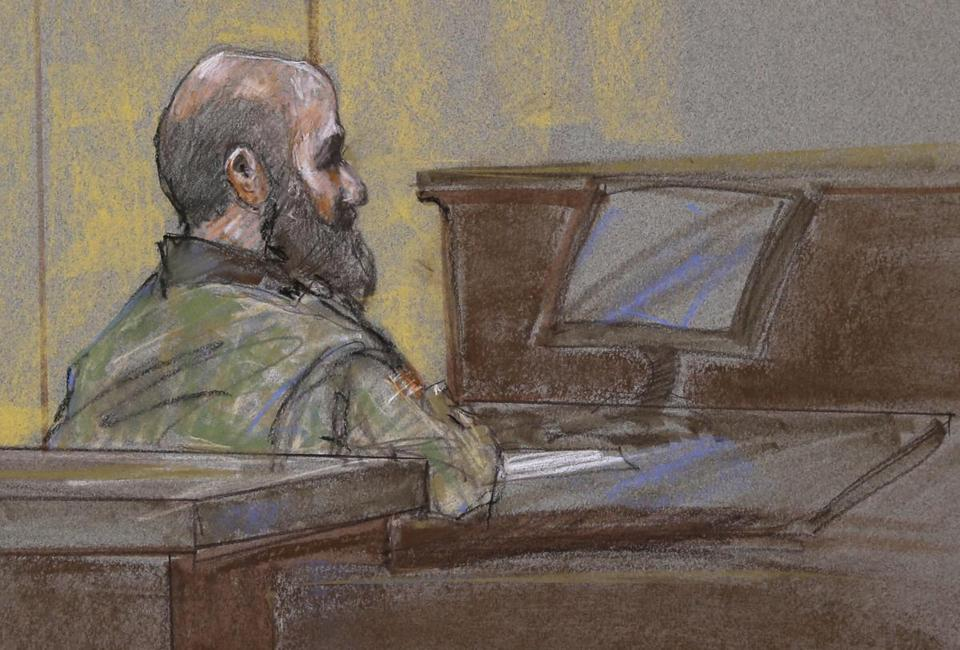 Major Nidal Hasan, shown in a courtroom sketch, was found guilty on all 45 counts.