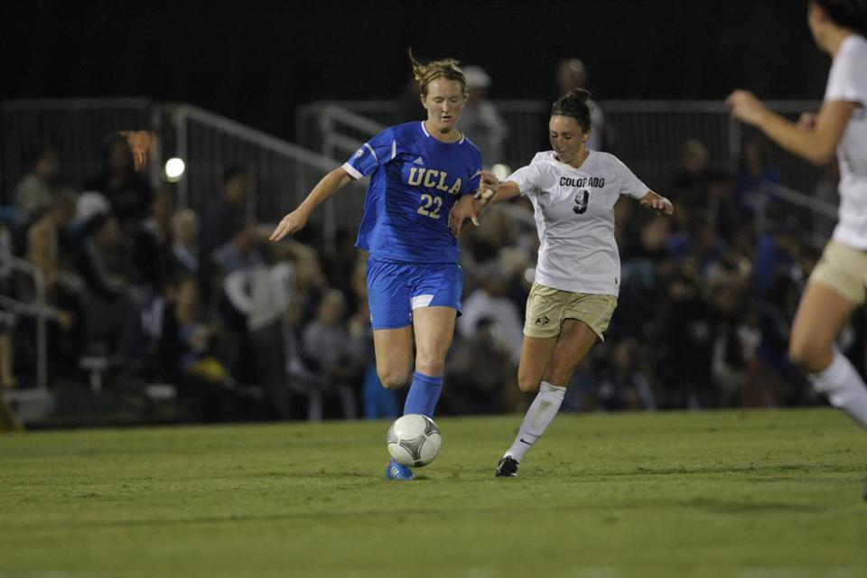 Samantha Mewis (left), a Whitman-Hanson graduate, is pushing forward more from UCLA's midfield as she is asked for more offense.