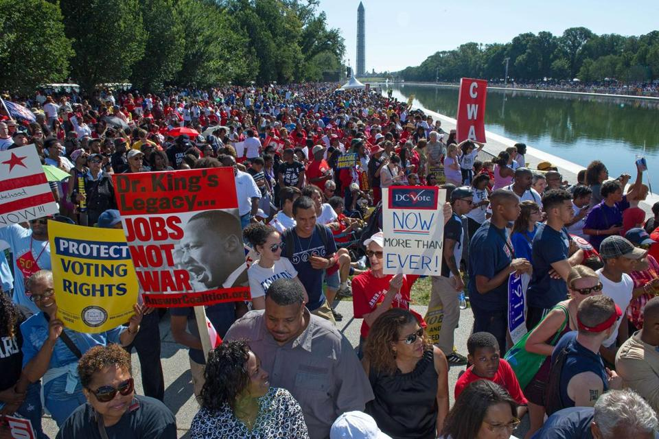 "Tens of thousands of people flooded the National Mall Saturday to mark a week of events commemorating the 50th anniversary of Martin Luther King Jr.'s ""I Have A Dream"" address and the March on Washington."