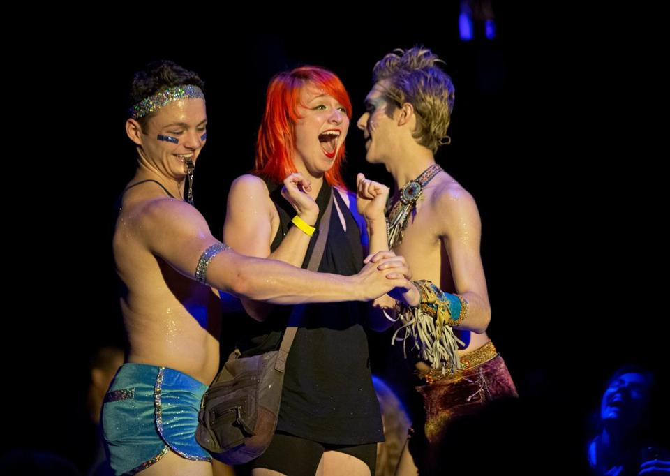 "From left: Daniel Gold, Jessica Barstis, and Andrew Barrett Cox dance at ""The Donkey Show"" anniversary party last month."