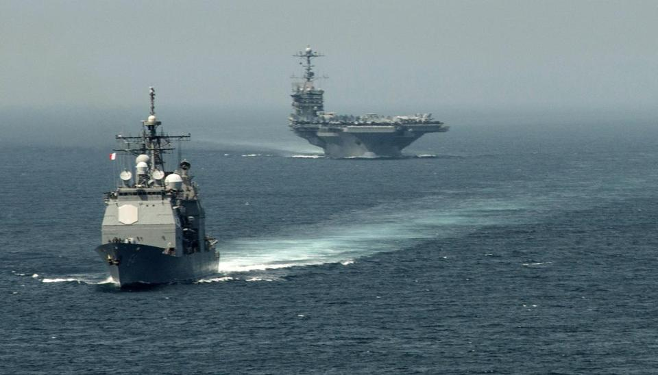 The USS Gettysburg and aircraft carrier USS Harry S. Truman on their way to the Mediterranean Sea earlier this month.
