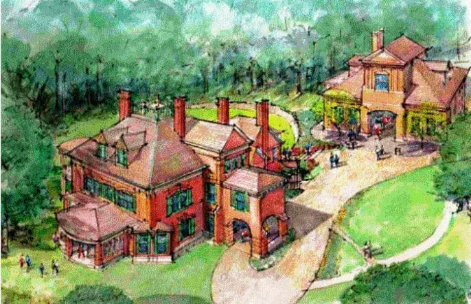 An artist's rendering of the restored manor and carriage house,  which  could be rented out for functions.