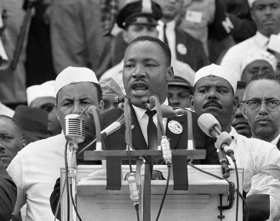 Martin Luther King Jr., spoke at the Lincoln Memorial in Washington on Aug. 28, 1963.