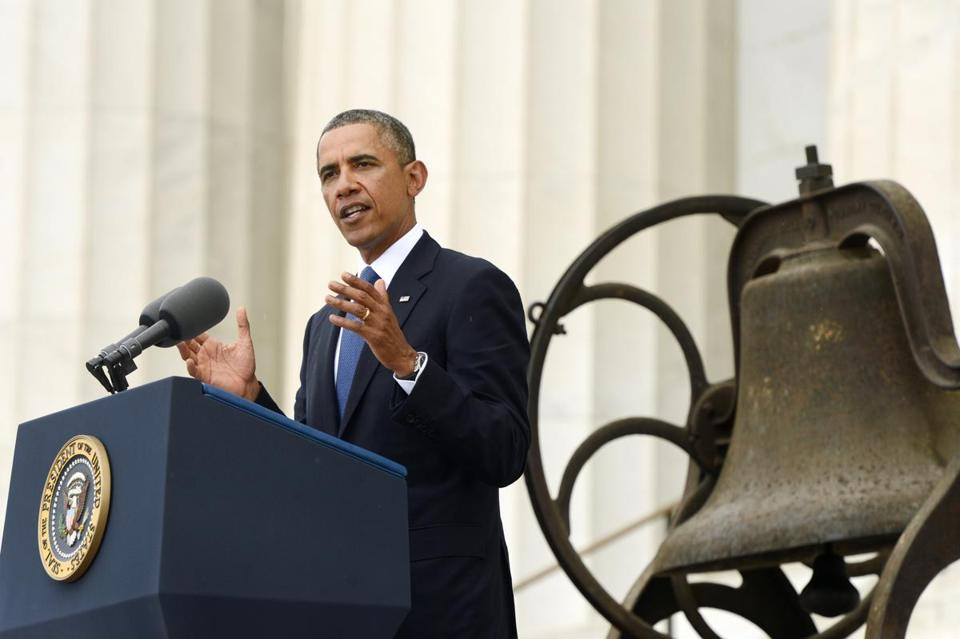 President Obama spoke at the Lincoln Memorial.