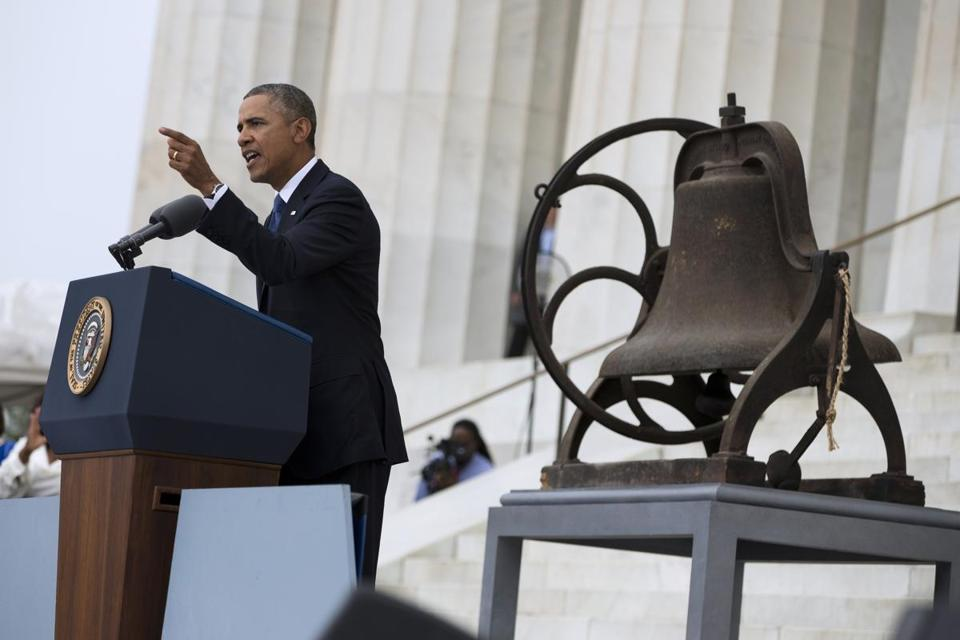 President Barack Obama spoke in front of the Lincoln Memorial on Wednesday.