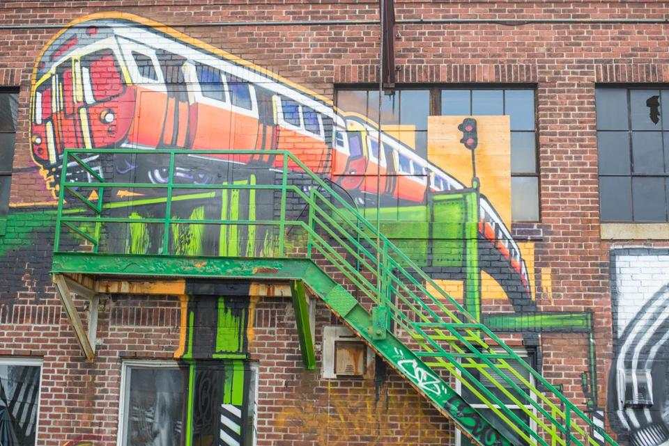 A mural at the former Bartlett Bus Yard on Washington Street in Roxbury.