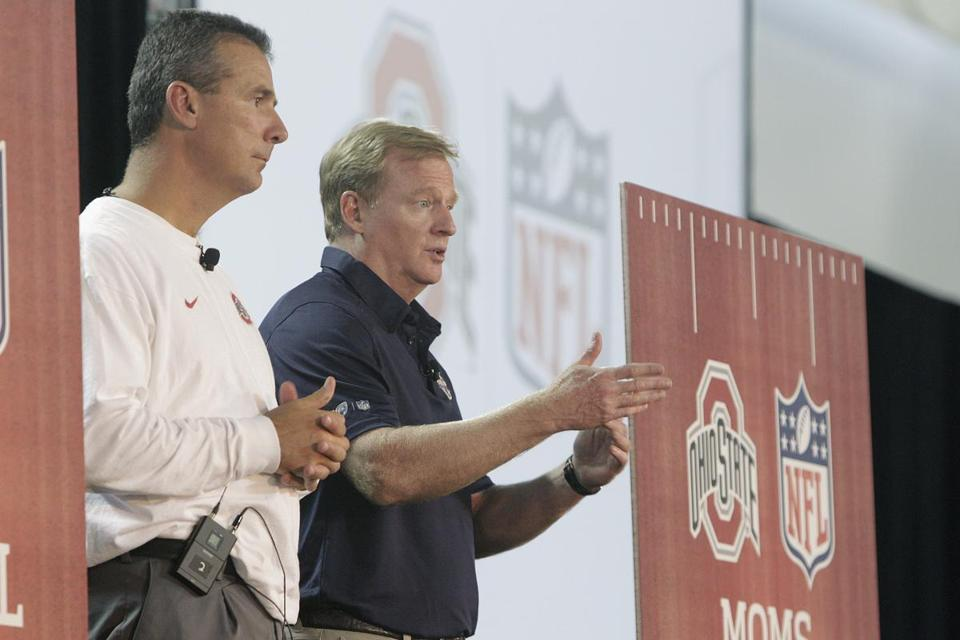 NFL commissioner Roger Goodell, right, appeared this month at a clinic promoting player safety with and Ohio State head coach Urban Meyer.