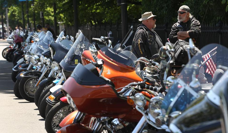"Motorcycles outside the State House during a ""legislative lobby day""  by the Massachusetts Motorcycle Association in 2012."