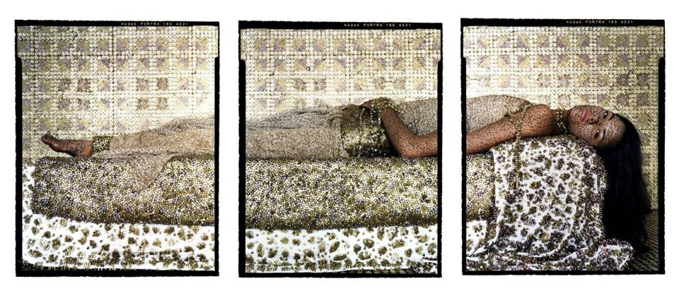 "Lalla Essaydi's triptych ""Bullets Revisited #3"" from 2012."
