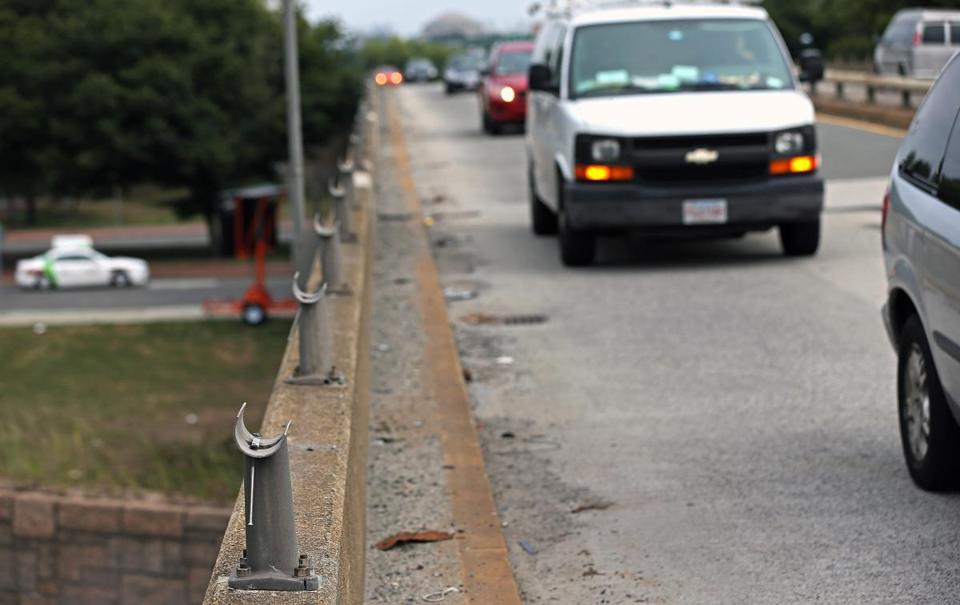 The guard rails on the Fenway's Bowker Overpass have been missing for years.