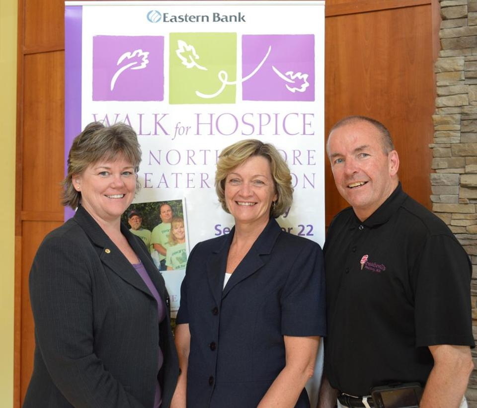 Eastern Bank vice president Maureen Trefry, assistant vice president Karen Gagne, and Tom Gould of Peabody are this year's Walk for Hospice cochairmen.