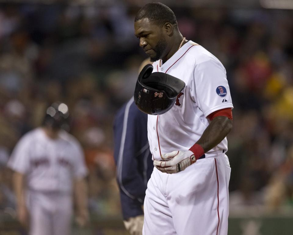David Ortiz flipped his helmet after hitting a fly ball to left field in the third inning.