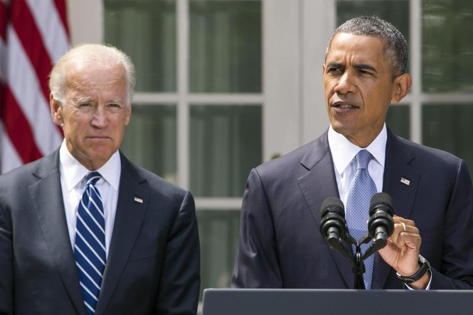 President Barack Obama was joined by Vice President Joe Biden while delivering a statement on Syria in the Rose Garden of the White House.
